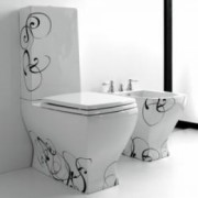Vas wc monobloc JAZZ alb decor Nero