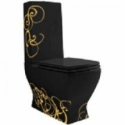 Vas wc monobloc JAZZ negru decor Oro